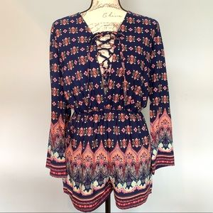 Romeo and Juliet Couture Printed LongSleeve Romper